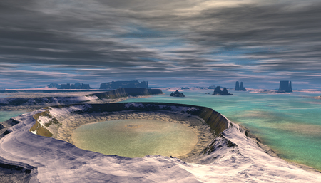 Fantasy alien planet. Mountain and water. 3D illustration Banco de Imagens