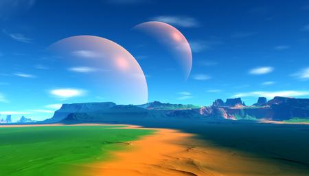 Fantasy alien planet. Mountain. 3D illustration 版權商用圖片