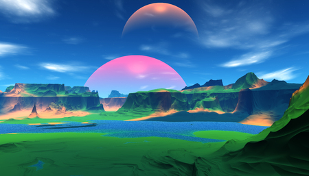 Fantasy alien planet. Mountain and water. 3D illustration Banco de Imagens