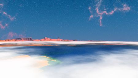 Fantasy alien planet. Above the clouds. 3D illustration