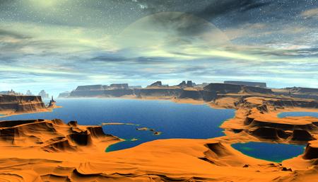 Fantasy alien planet. Mountain and water. 3D illustration 版權商用圖片