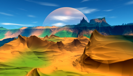 Fantasy alien planet. Mountain. 3D illustration Banco de Imagens