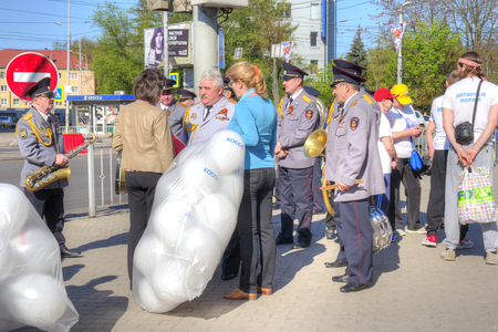 KALININGRAD, RUSSIA - May 01.2018: Residents of the city are waiting for the start of the May Day demonstration in the city center