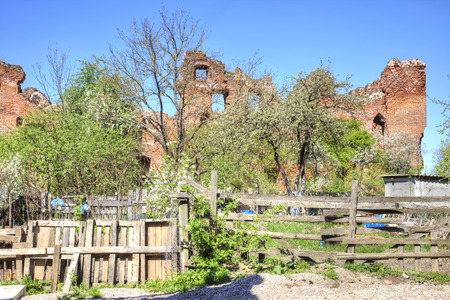 Neman city. The ruins of the ancient German knightly order Ragnit Castle Stock Photo