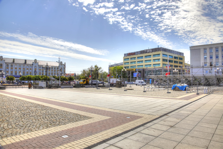 KALININGRAD, RUSSIA - May 04.2018: Installation of guest grandstand on the eve of May Day demonstration on Victory Square Editorial
