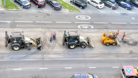 MOSCOW, RUSSIA - August 30.2018: Modern technology on the repair of the road surface. Replacing asphalt on the highway