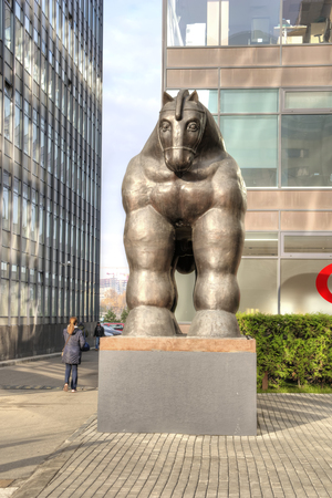 MOSCOW, RUSSIA - November 07.2018: Sculpture of the Trojan Horse in the area of the business center. The creation of a fashionable Colombian sculptor Fernando Botero