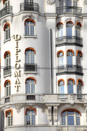 STOCKHOLM, SWEDEN - May 04.2013: The facade of the prestigious expensive urban hotel Diplomat Editorial