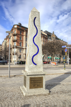STOCKHOLM, SWEDEN - May 04.2013: City Embankment in the historic center of the city. District Östermalm, Strandwegen. Granite spiers show air and water pollution