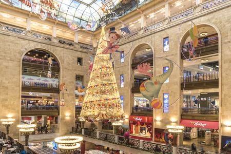 MOSCOW, RUSSIA - December 01.2018: New Year's Eve. New Year tree in the interior of the store Detsky Mir