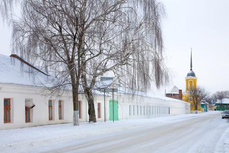 Snowfall in the city of Kolomna. Staro-Troitsky Novo-Golutvin Monastery