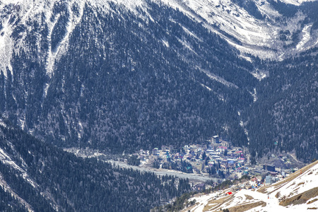 Dombai Glade. The settlement in the Caucasus Mountains, skiing resort