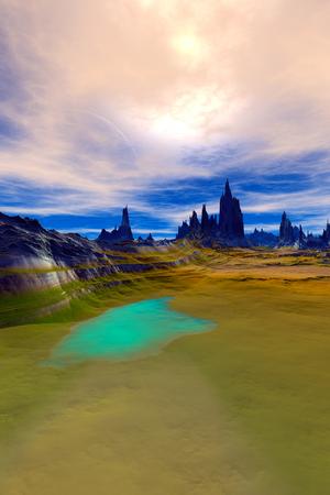 Fantasy alien planet. Mountain and water. 3D illustration Stockfoto