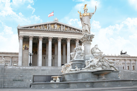 VIENNA, AUSTRIA - May 05.2011: The sculptural composition of the fountain of Athena Pallas next to the Austrian Parliament