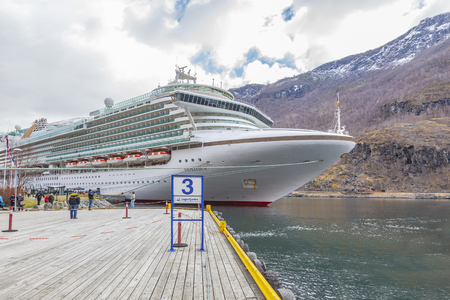 FLAM, NORWAY - April 30.2013: The Valley of Flomsdalen. City, railway station and seaport in Sognefjord fjord. A cruise ship
