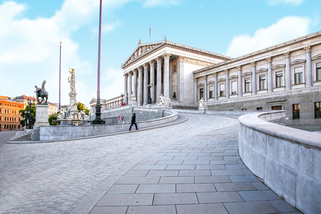 VIENNA, AUSTRIA - May 05.2011: The building of the Austrian Parliament. State institution on the street Ringstrasse
