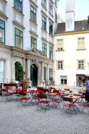 VIENNA, AUSTRIA - May 05.2011: Summer cafe in the historic part of the city Redakční