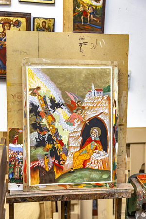 METEORA, GREECE - March 13.2016: The temple complex. Icon painting studio. Ready icons and stencils