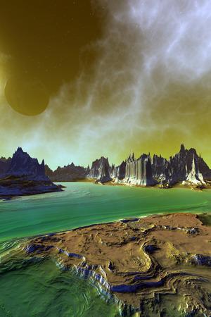 Fantasy alien planet. Mountain and sky. 3D illustration