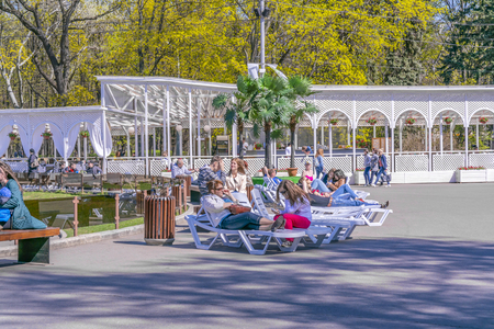 MOSCOW, RUSSIA - May 05.2015: Oldest recreation Sokolniki Park in the city. Deckchair on the Fountain Square