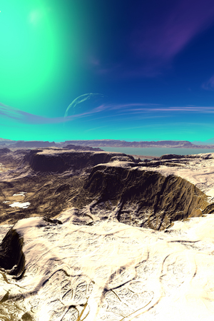 Fantasy alien planet. Mountain and sky. 3D illustration