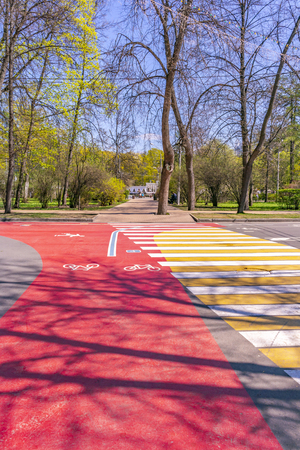 MOSCOW, RUSSIA - May 05.2015: Oldest recreation Sokolniki Park in the city. Avenue and bike path for cyclists