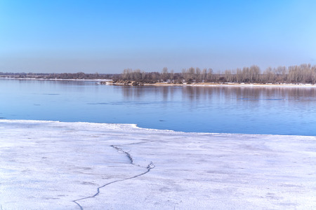 Last ice in early spring on the Volga River