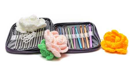 Multi-colored crochet hooks in different sizes in the package