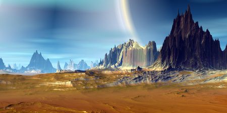 Fantasy alien planet. Mountain. 3D illustration Reklamní fotografie