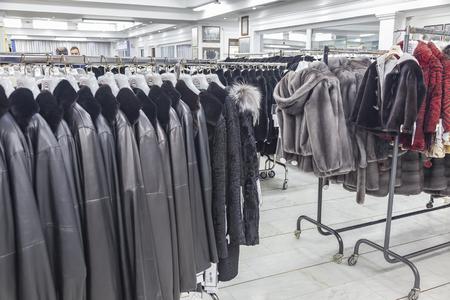 GREECE, KASTORIA - March 12.2016: Showroom coats with fur factory Redactioneel