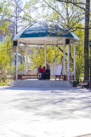 MOSCOW, RUSSIA - May 05.2015: Oldest recreation Sokolniki Park in the city. Veranda with a piano Redakční