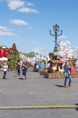 MOSCOW, RUSSIA - April 29.2019: Easter installations of symbols of the Christian holiday near the Cathedral of Christ the Savior Redakční