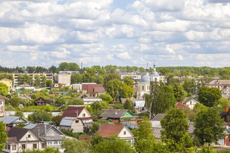 Aerial view of the city of Torzhok. Panorama of the city Stock Photo