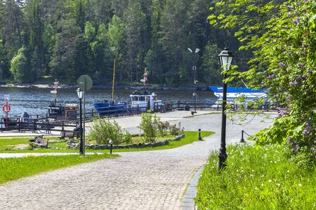 Old garden. Road on the island of Valaam