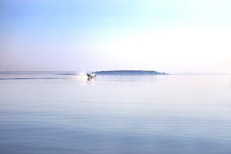 Sailing high-speed ship on Lake Ladoga