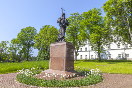 ISLAND VALAAM, REPUBLIC OF KARELIA, RUSSIA - June 06.2019: The territory of the Valaam Monastery Spaso-Preobrazhensky. Monument to the Apostle Andrew the First-Called
