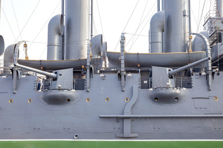 SAINT PETERSBURG, RUSSIA - June 07.2019: First-rank cruiser of the Baltic Fleet Aurora parked at the Petrograd Embankment at the source of the Bolshaya Nevka river Editöryel