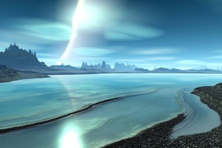 Fantasy alien planet. Mountain and lake. 3D illustration Banco de Imagens - 132032418