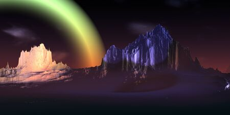 Fantasy alien planet. Mountain. 3D illustration Banco de Imagens - 132031496