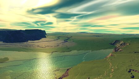 Fantasy alien planet. Mountain and lake. 3D illustration Banco de Imagens - 132031522