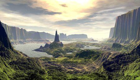 Fantasy alien planet. Mountain and lake. 3D illustration Banco de Imagens - 132032792