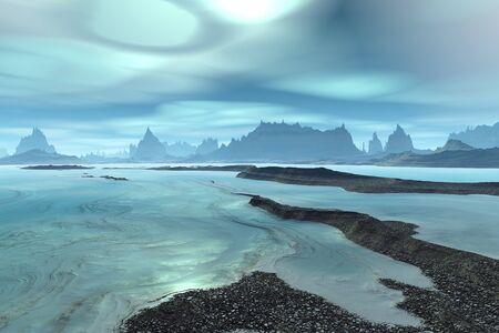 Fantasy alien planet. Mountain and lake. 3D illustration Banco de Imagens - 132032448