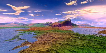 Fantasy alien planet. Mountain and lake. 3D illustration Banco de Imagens - 132031723