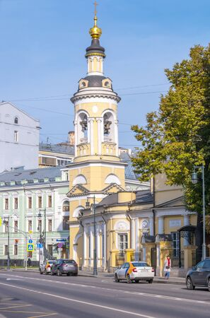 MOSCOW, RUSSIA - October 03.2019: Solyanka street in the historic city center. Church of the Nativity of the Blessed Virgin Mary in Kulishki