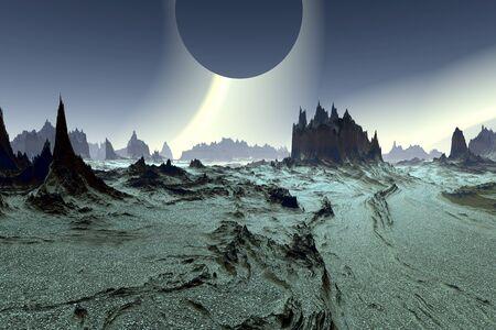 Fantasy alien planet. Mountain. 3D illustration Banco de Imagens - 132032698
