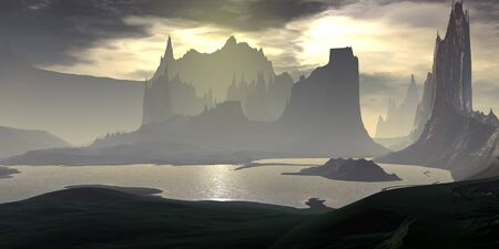 Fantasy alien planet. Mountain and lake. 3D illustration Banco de Imagens - 132031713