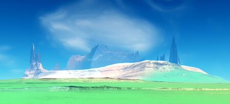 Fantasy alien planet. Mountain. 3D illustration Banco de Imagens - 132032566