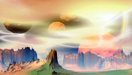 Fantasy alien planet. Mountain. 3D illustration Banco de Imagens - 132031871