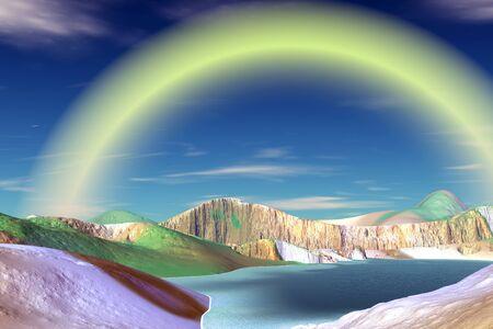 Fantasy alien planet. Mountain and lake. 3D illustration Banco de Imagens - 132031951