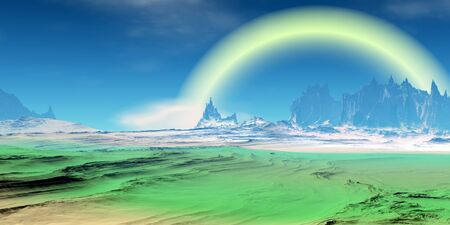 Fantasy alien planet. Mountain. 3D illustration Banco de Imagens - 132031697